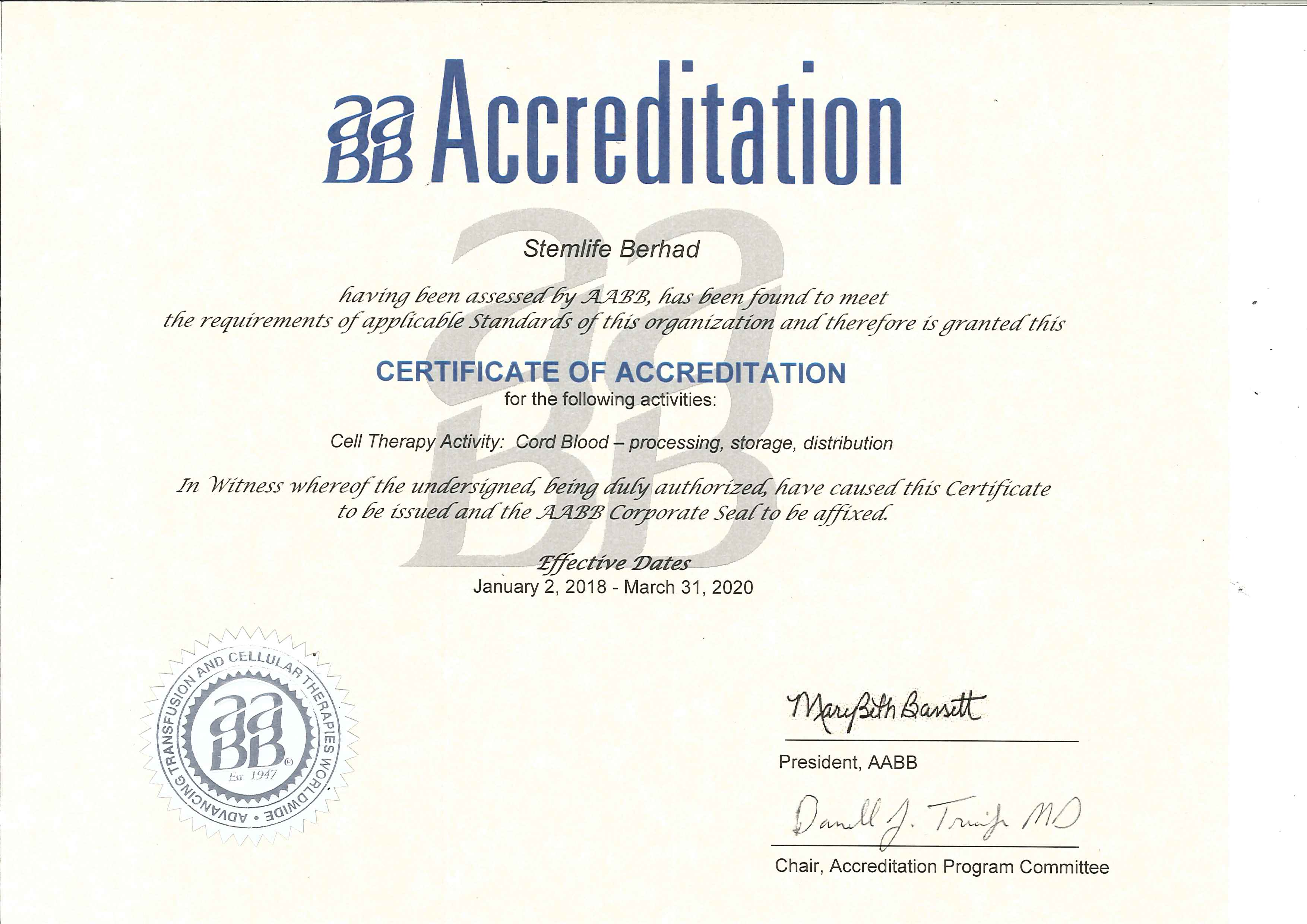 AABB Accredited